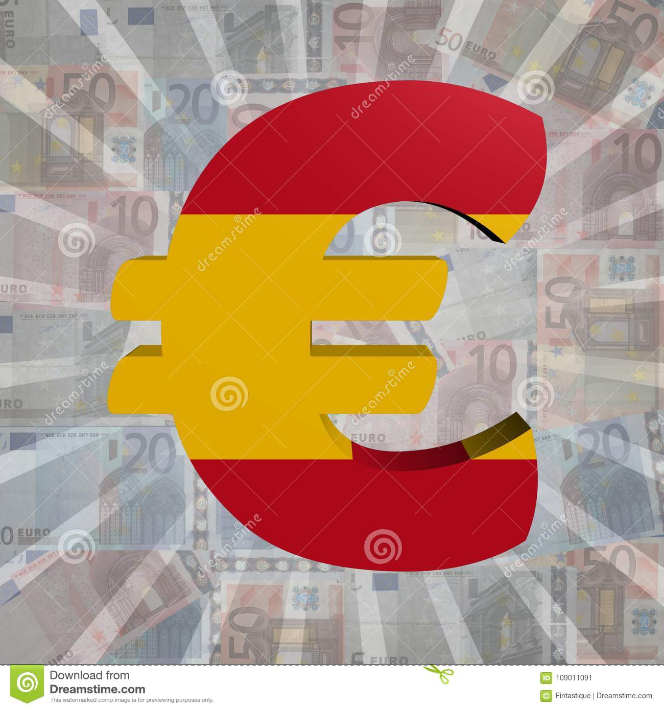 Euro Symbol With Spanish Flag On Euro Currency Illustration Stock