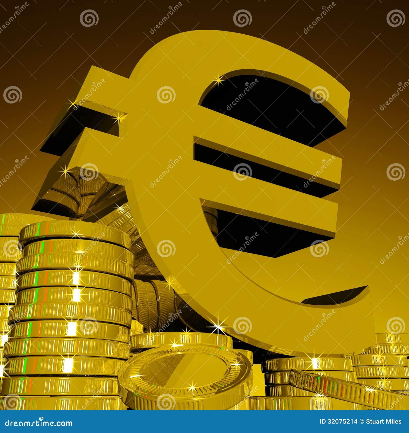 euro symbole sur des pi ces de monnaie montrant la richesse europ enne. Black Bedroom Furniture Sets. Home Design Ideas