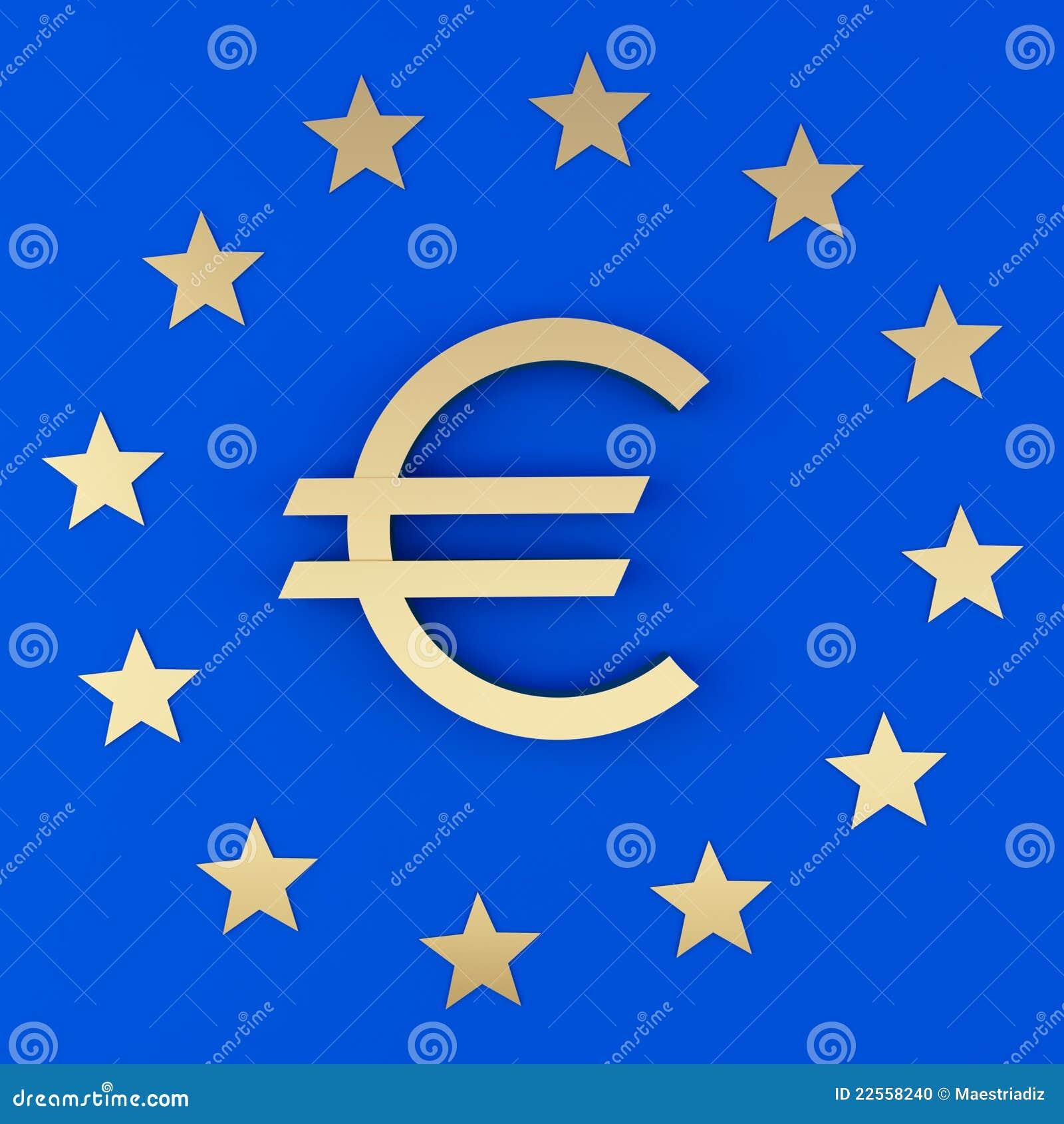 Euro Teken En De Sterren Stock Foto - Afbeelding: 22558240