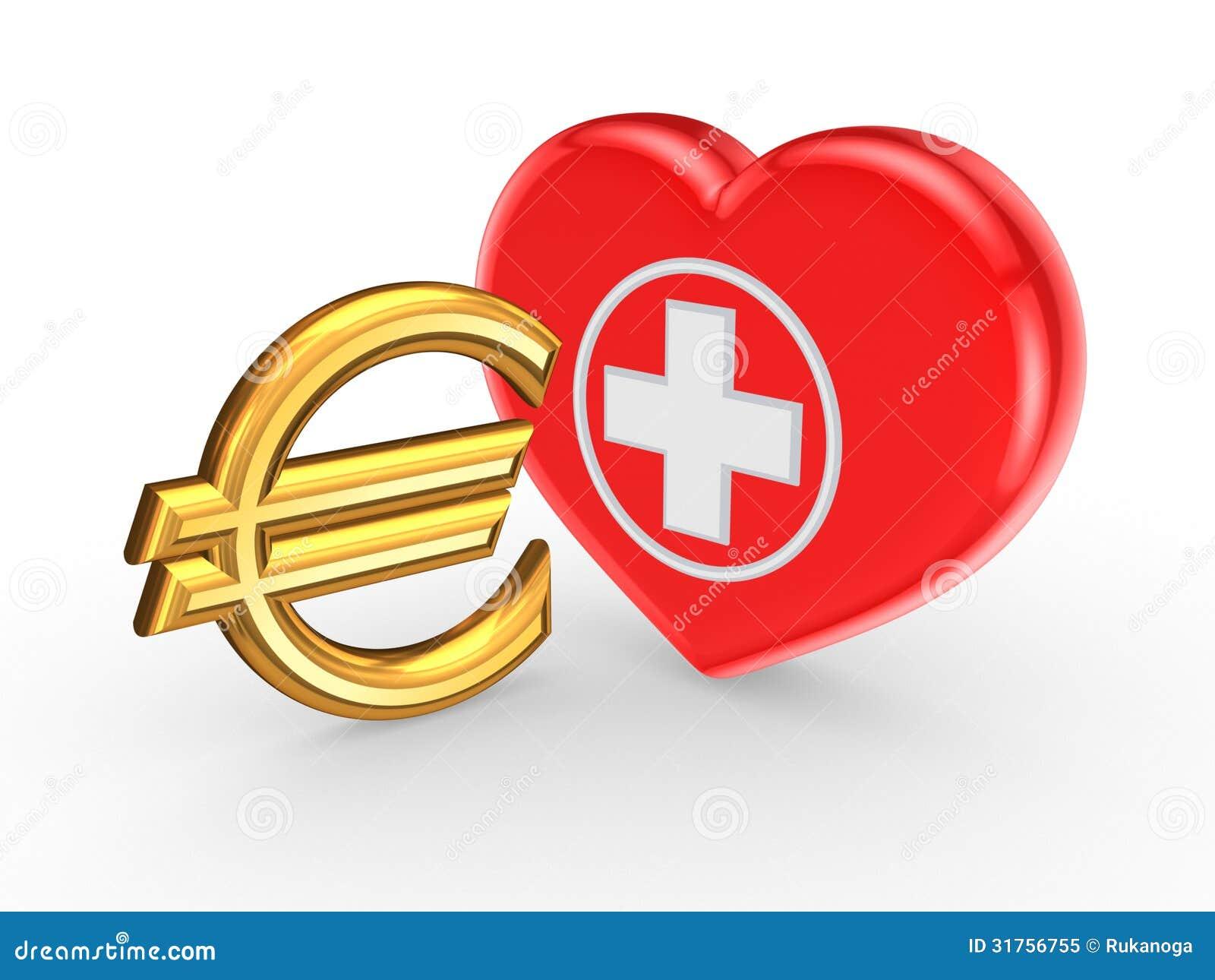 Euro teken en symbool van geneeskunde. Geïsoleerd op teruggegeven ...