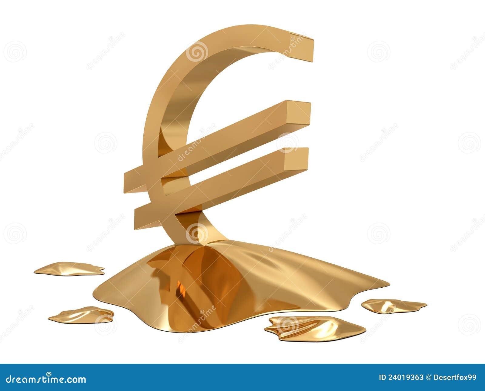 Euro teken gouden smelting