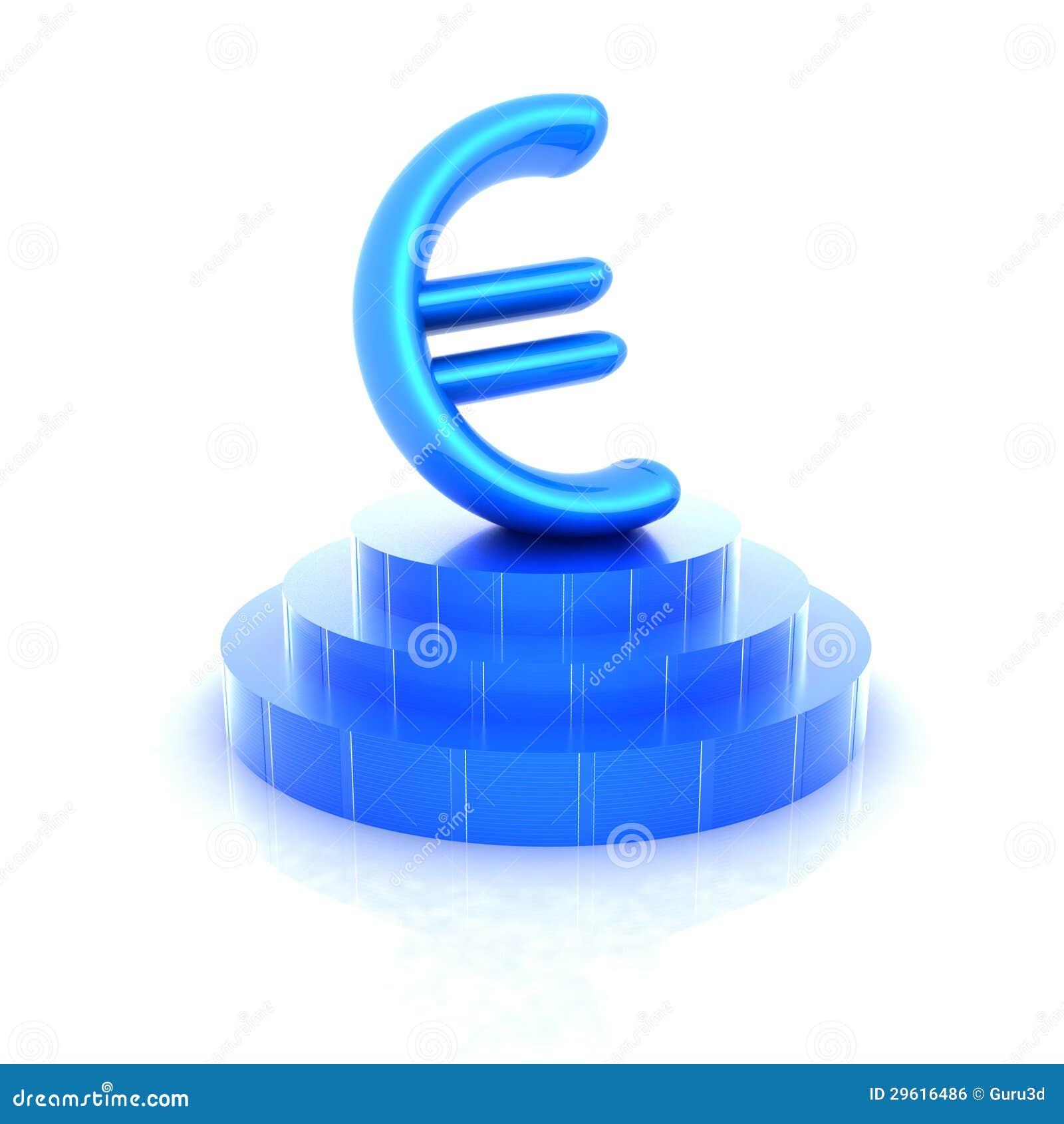 Euro Teken Op Podium. 3D Pictogram Stock Illustratie ...