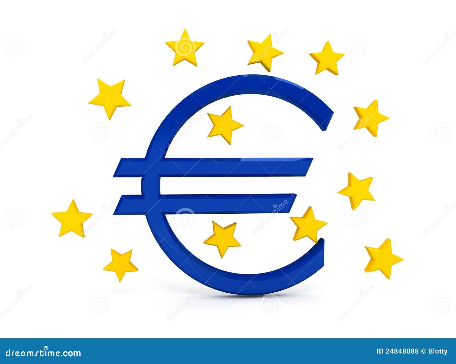 Euro Teken Over Witte Achtergrond Royalty-vrije Stock Foto's ...