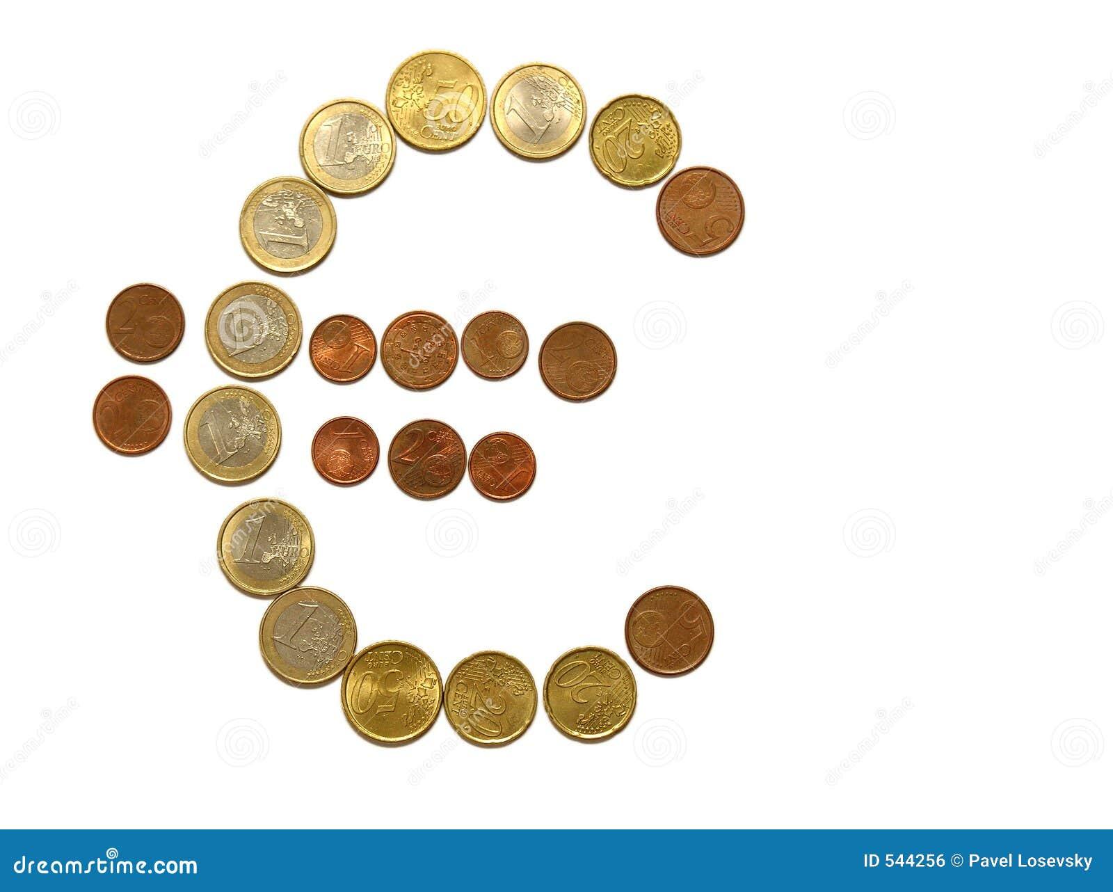 Euro Teken Van Muntstukken Royalty-vrije Stock Afbeelding - Afbeelding ...