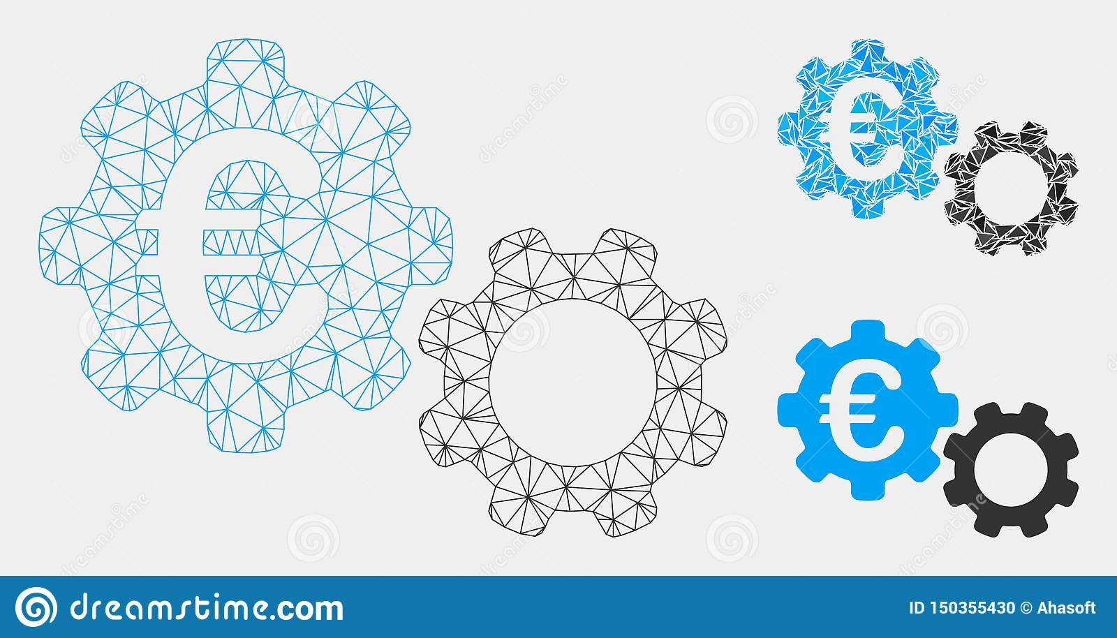Euro Werktuigkundigen Vector het Mozaïekpictogram van Mesh Carcass Model en van de Driehoek