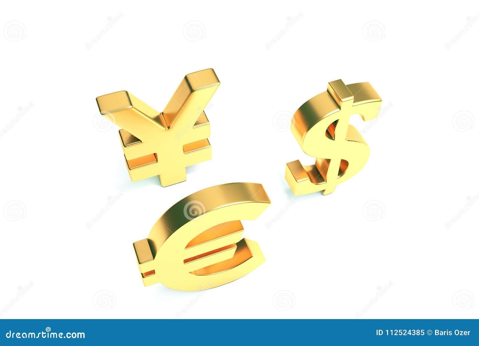 Euro Yen Dollar Signs On White avec le chemin de coupure