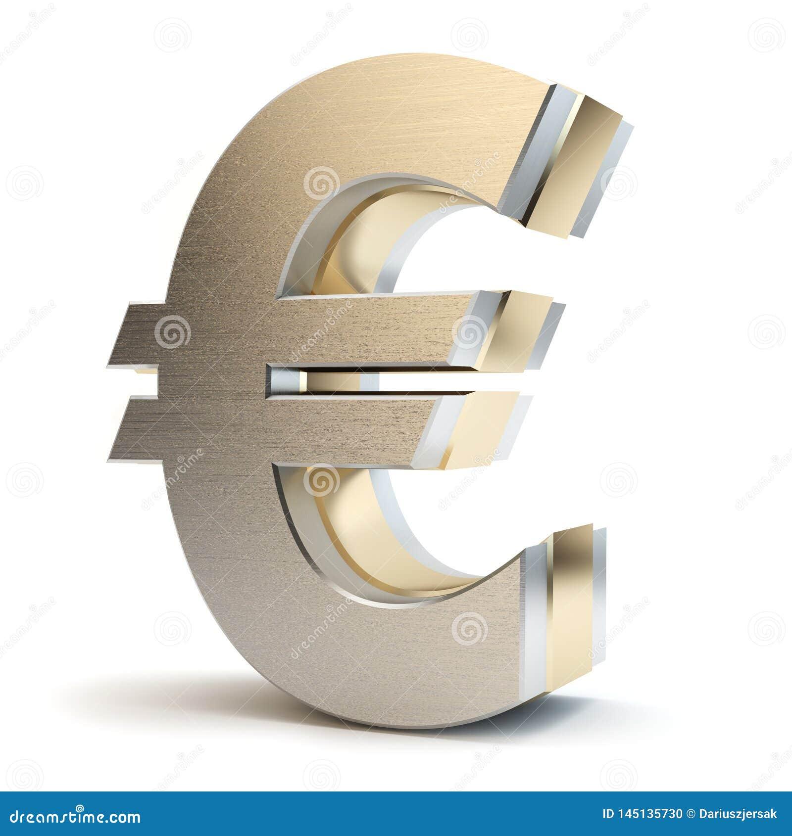 Euro złoto znak, 3D ilustracja