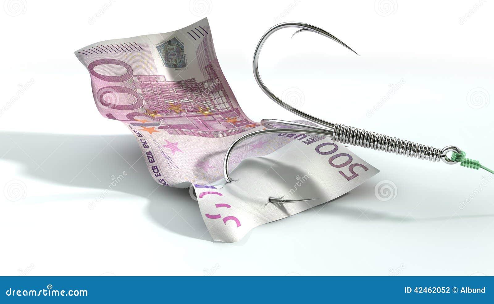 Eurobanknote angelockter Haken
