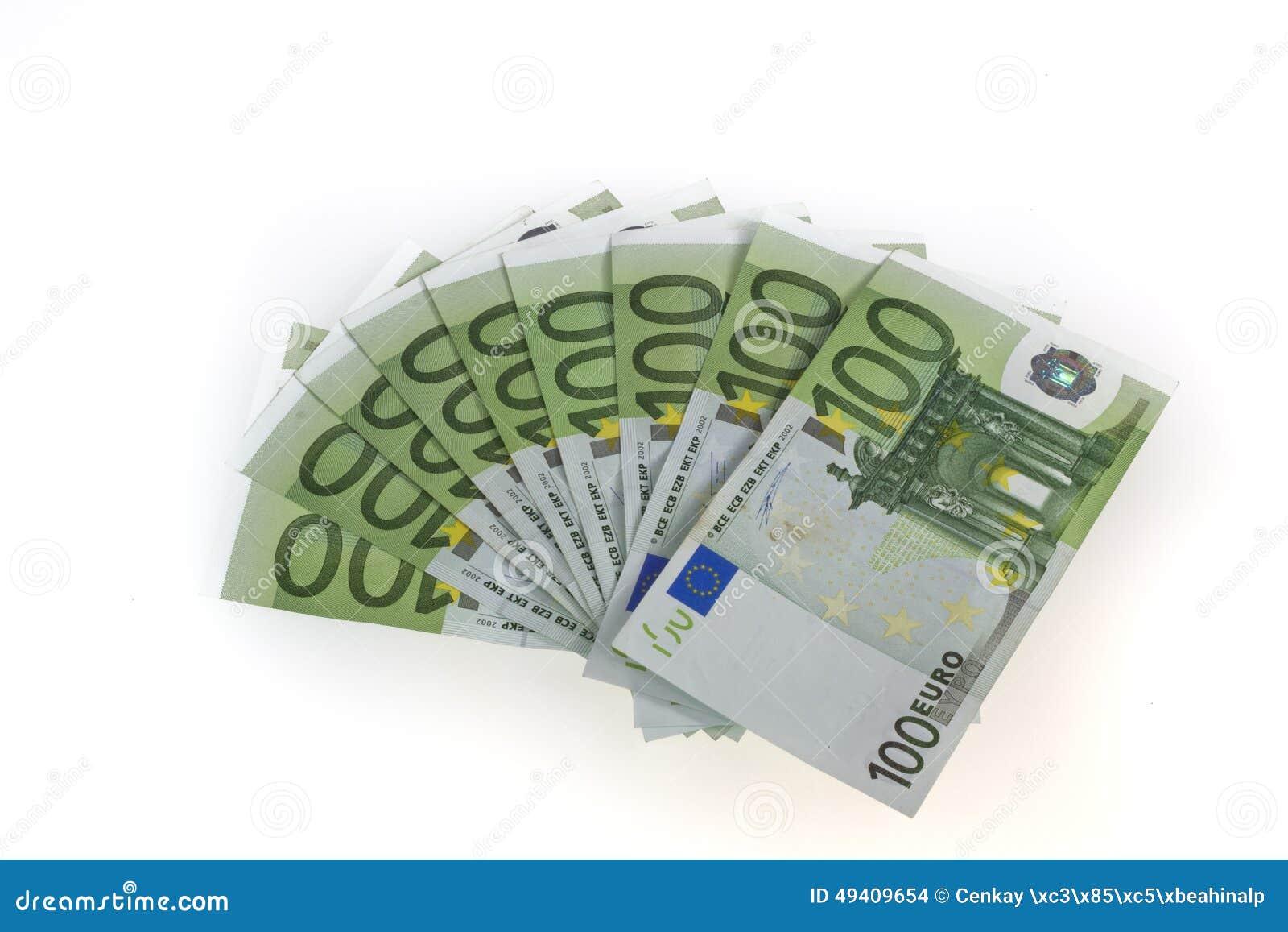 Download Eurobanknoten über Weiß stockfoto. Bild von weiß, leistung - 49409654