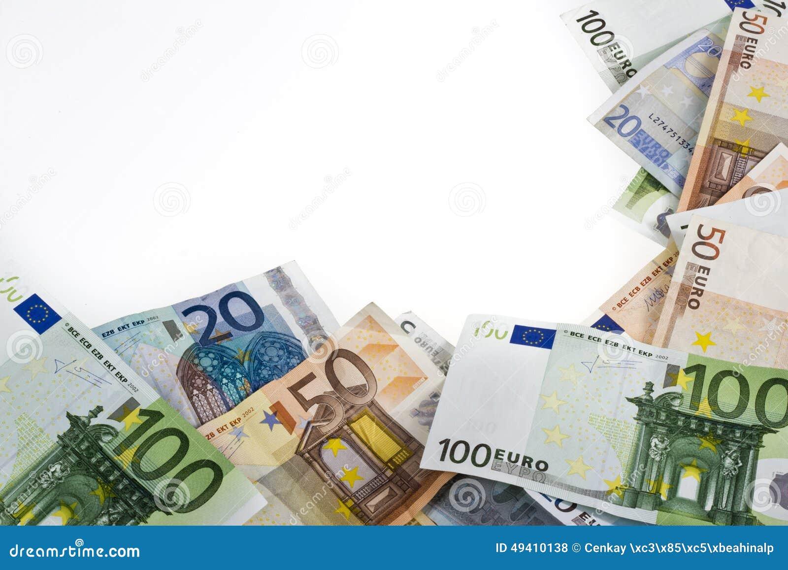 Download Eurobanknoten über Weiß stockfoto. Bild von euro, europäisch - 49410138