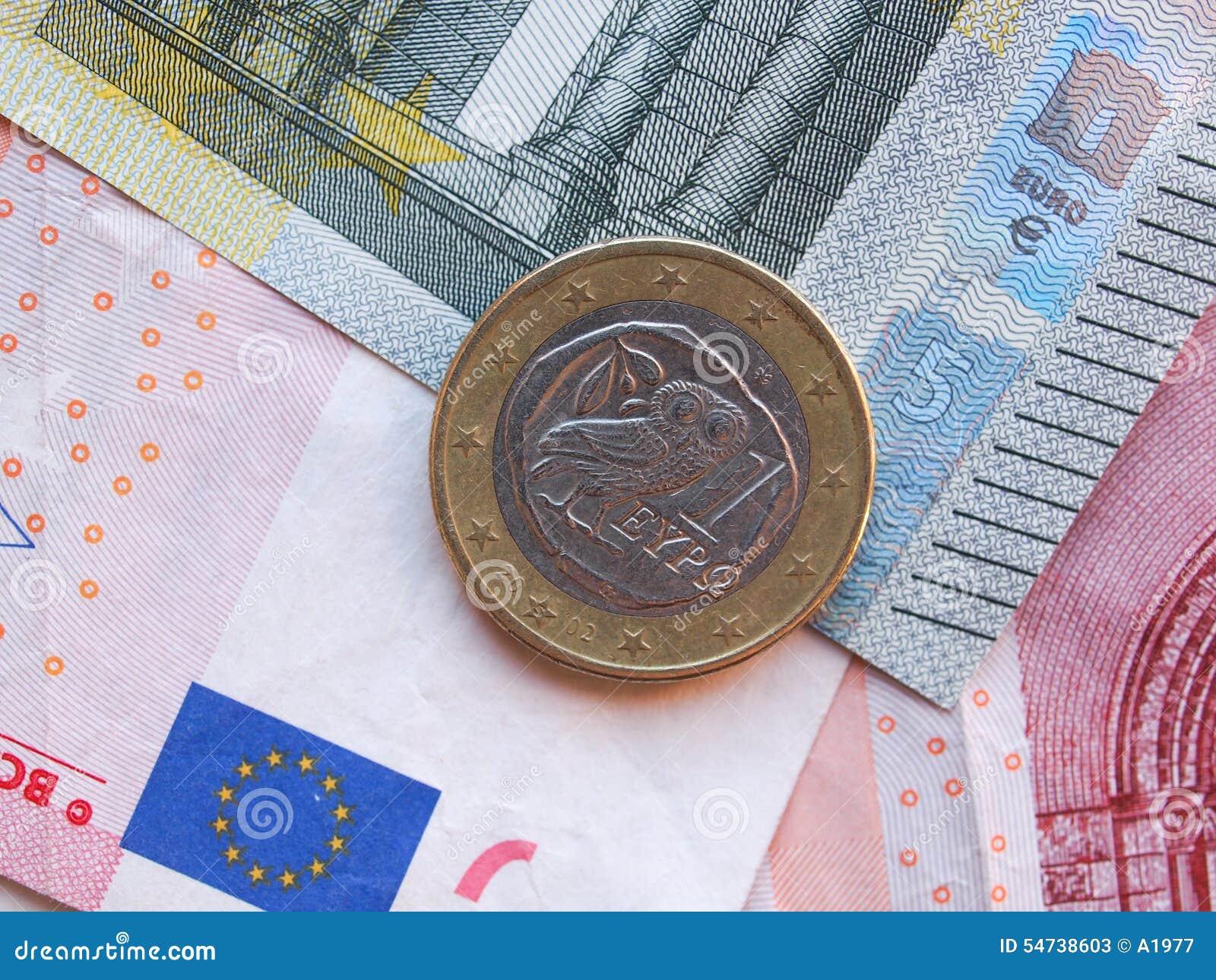 Eurobanknoten Und Eine 1 Euromünze Von Griechenland Stockbild Bild