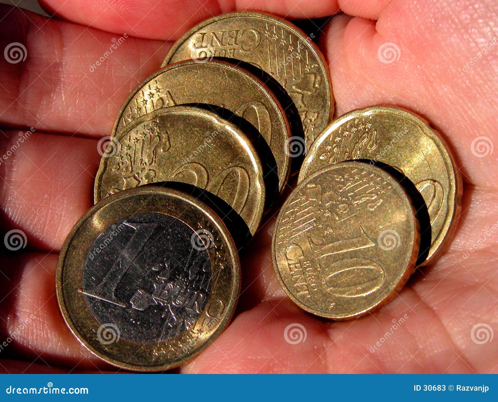 Eurocoins in hand
