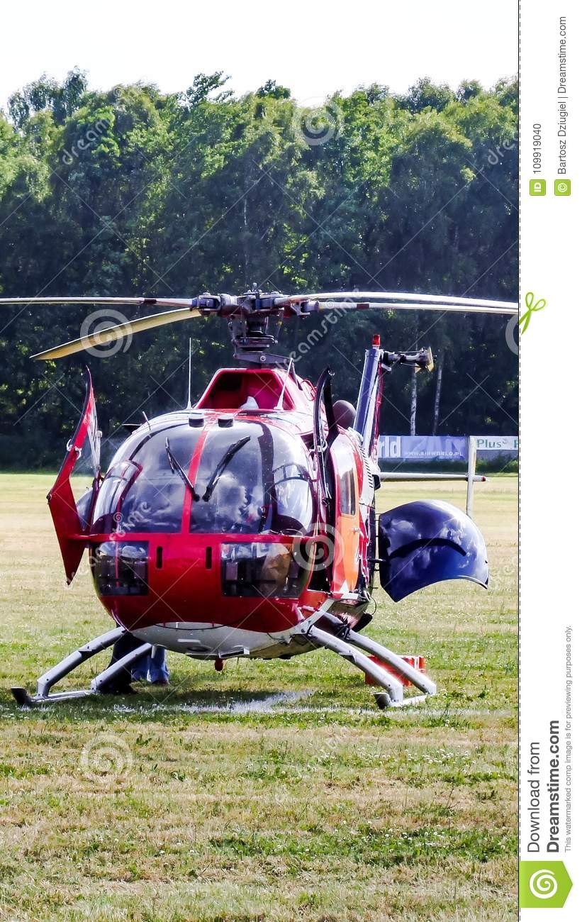 Eurocopter MBB Bo-105 of The Flying Bulls on grass airfield.