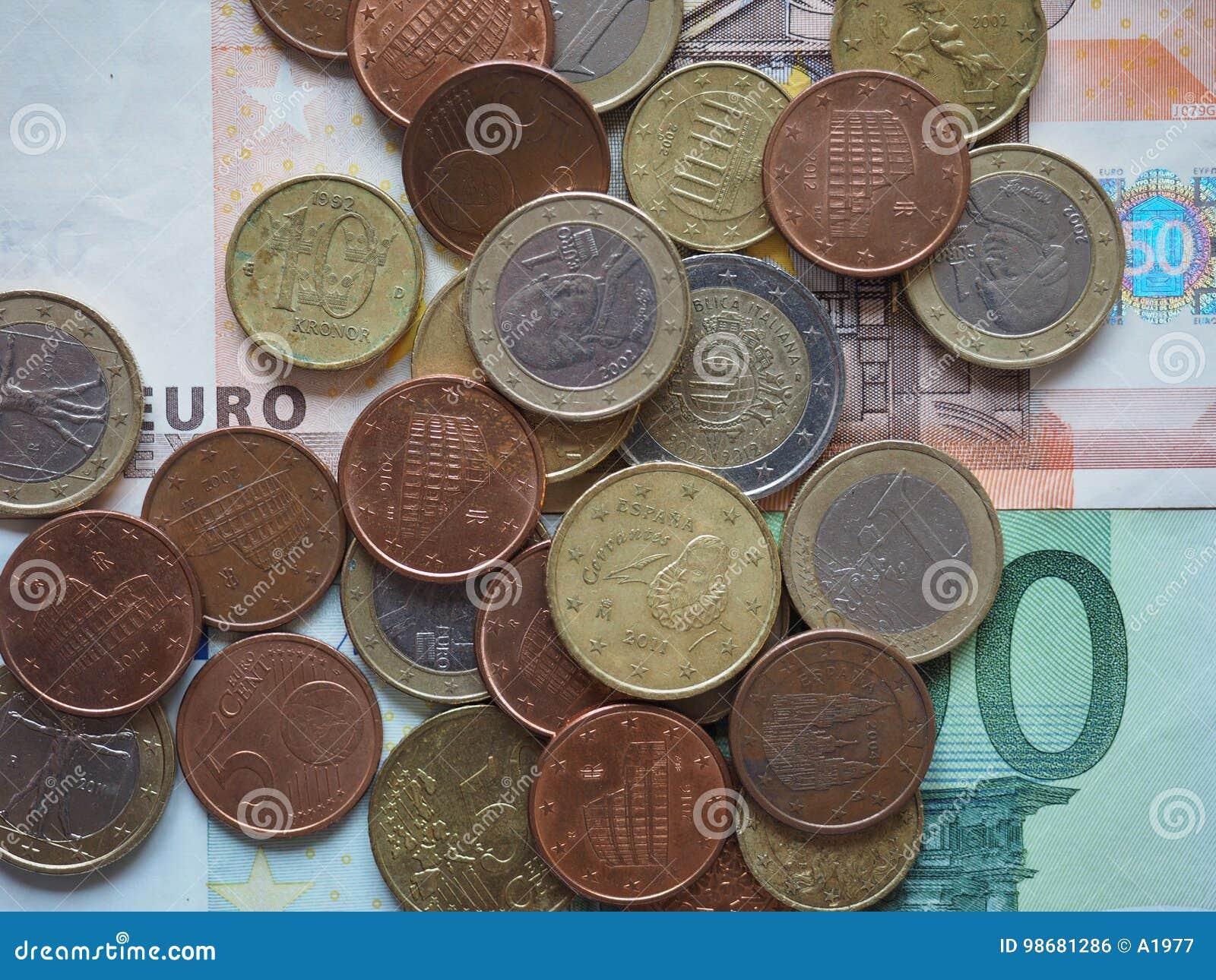 Euromünzen Freigegeben Durch Verschiedene Länder Stockfoto Bild