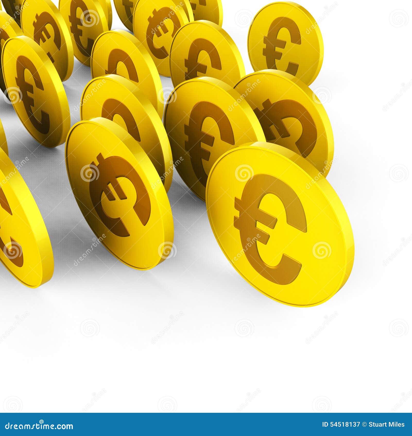 Euromünzen stellt Geschäfts-Einsparungen und Handel dar