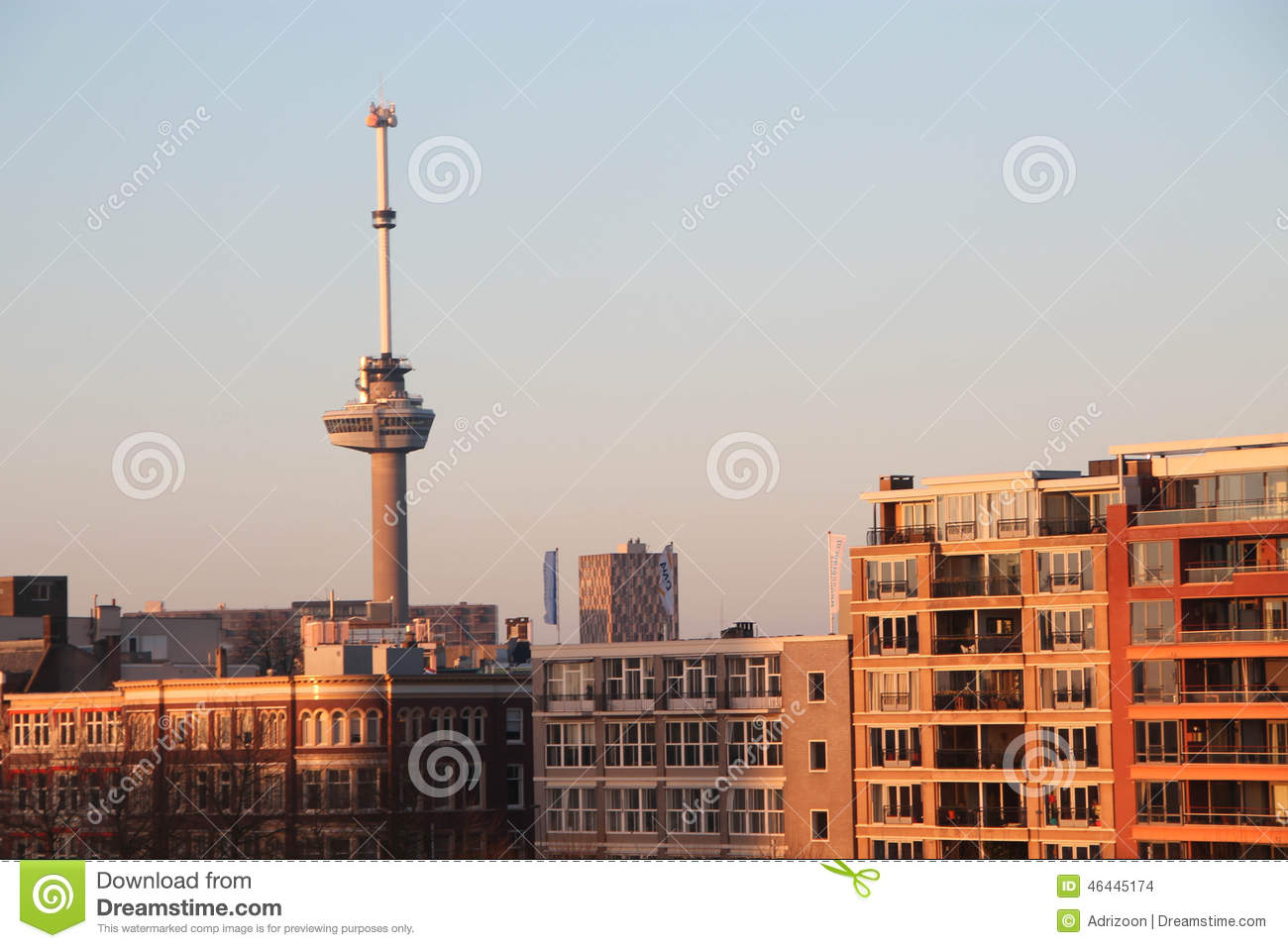 Euromast Tower Of Rotterdam The Netherlands At Sunrise Editorial Stock Image Image 46445174