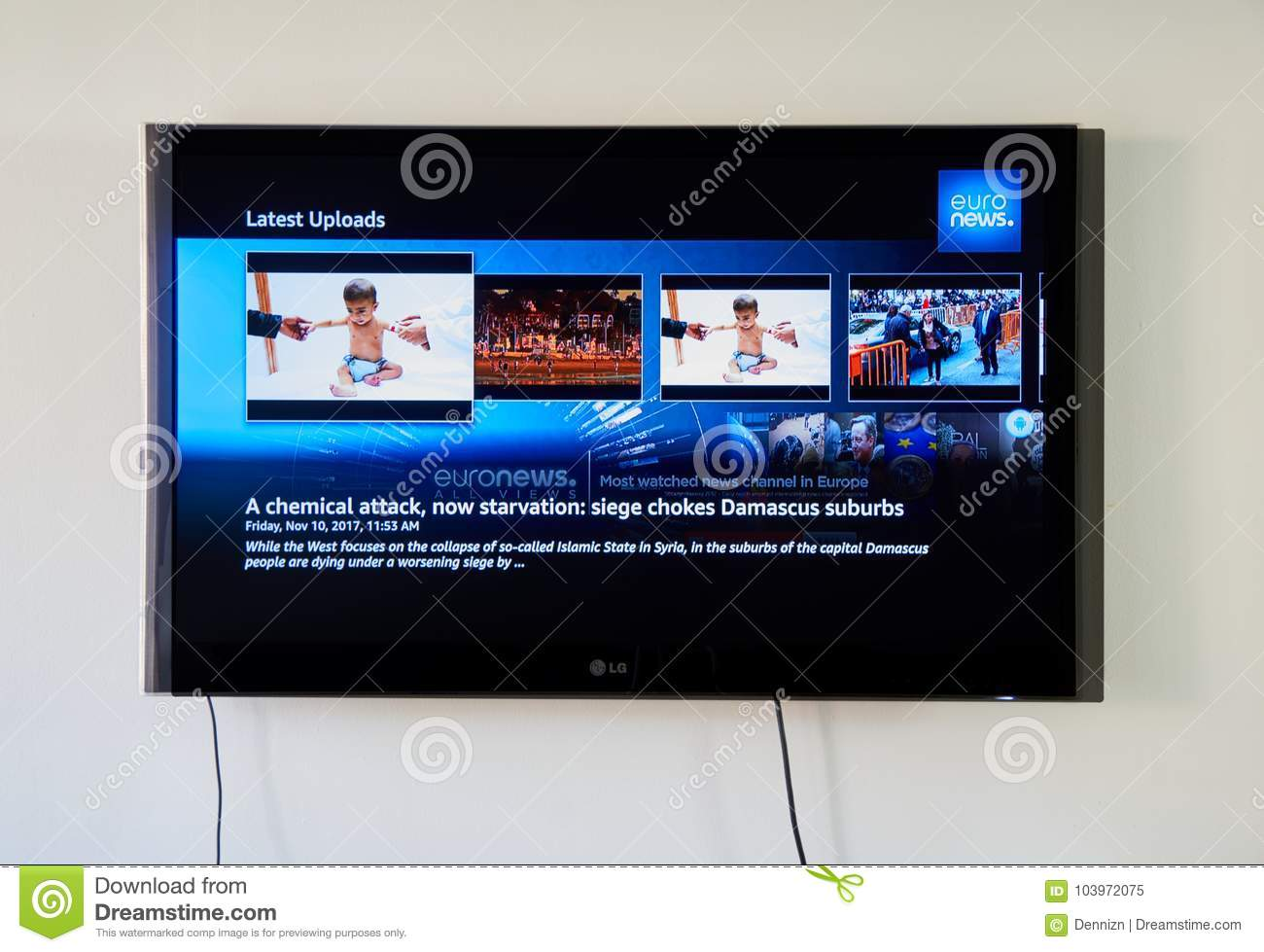Euronews App On LG TV Screen Editorial Image - Image of