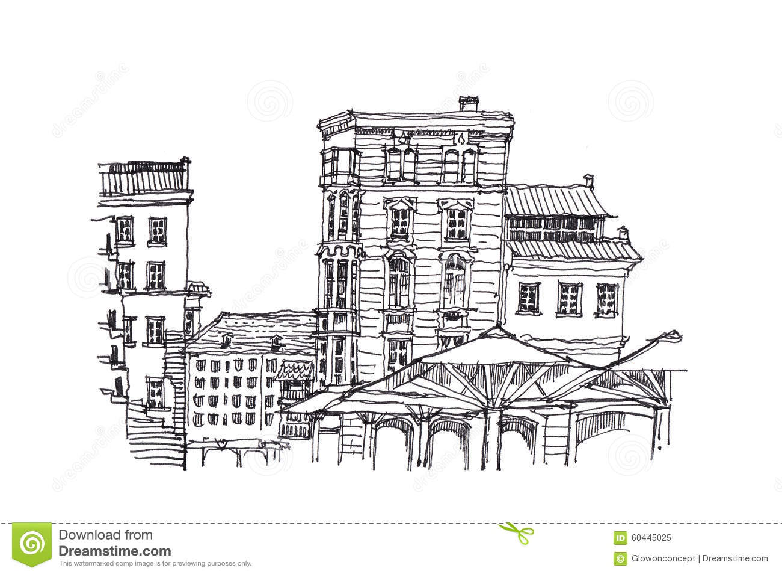 Download Europaische Architekturskizzen Gekritzelillustration Stock Abbildung