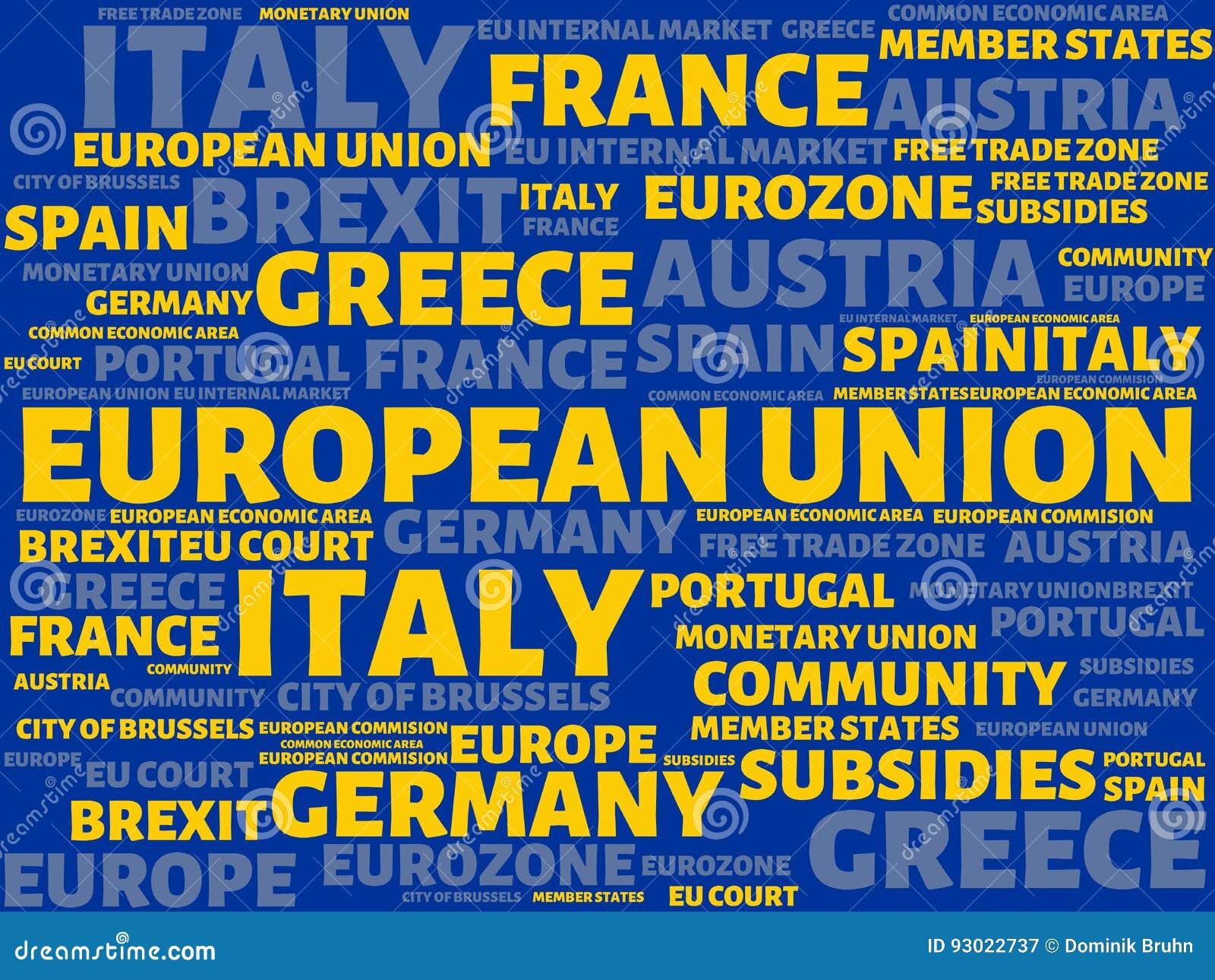 EUROPÄISCHE GEMEINSCHAFT - Bild mit den Wörtern verbunden mit dem Thema EUROPEAN_UNION, Wortwolke, Würfel, Buchstabe, Bild, Illus