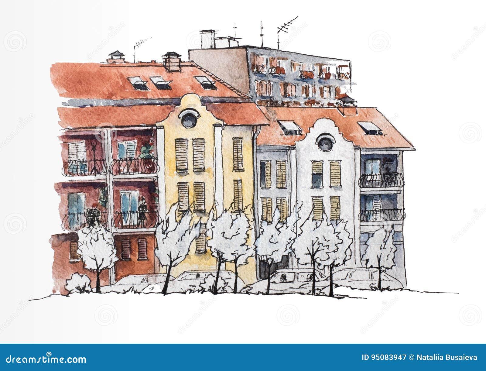 Europäische Städtische Landschaft Europäische Stadt Mit Den Alten ...