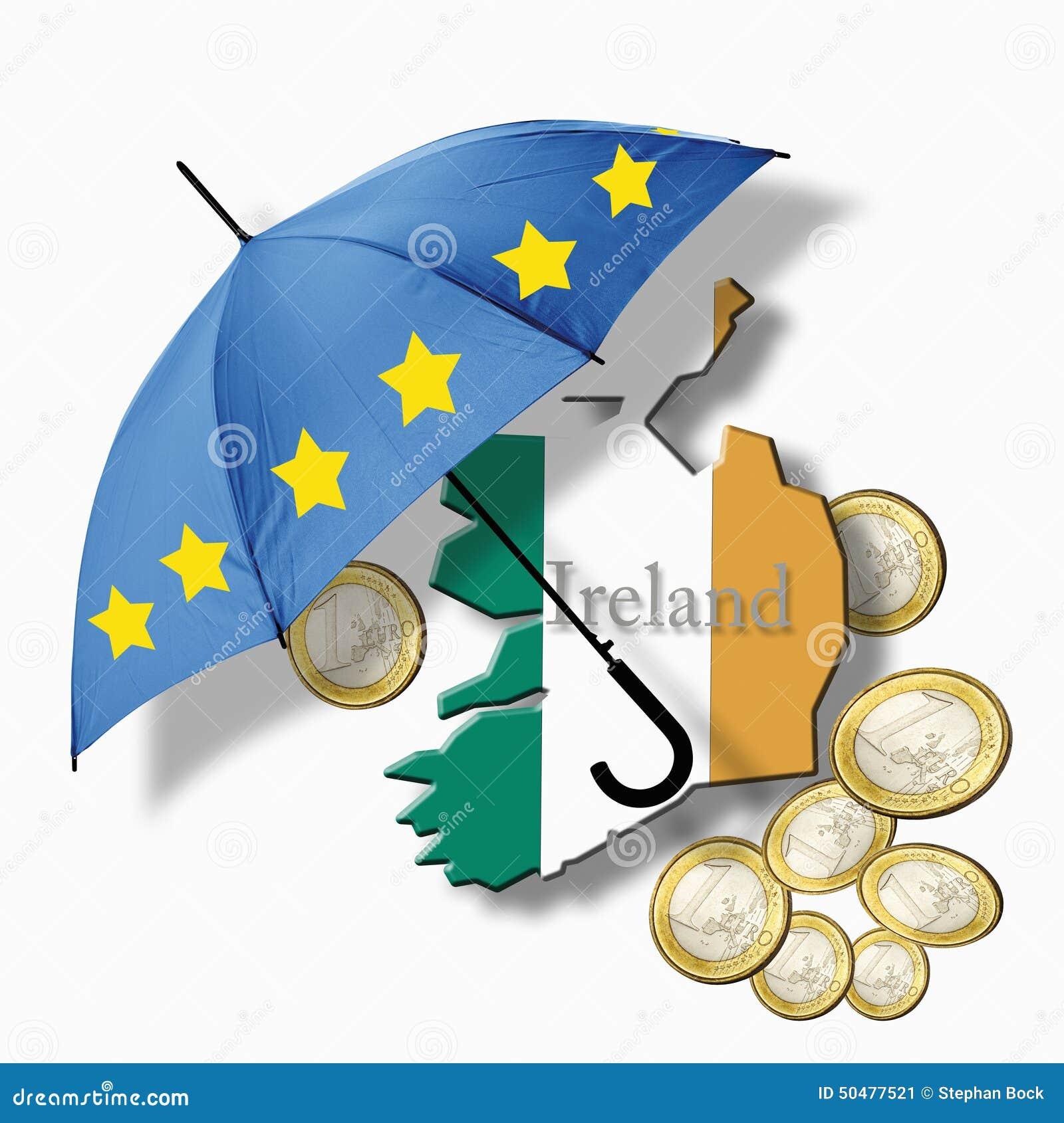 Europäischer Flaggenregenschirm Auf Irland Flagge Gegen Euromünzen