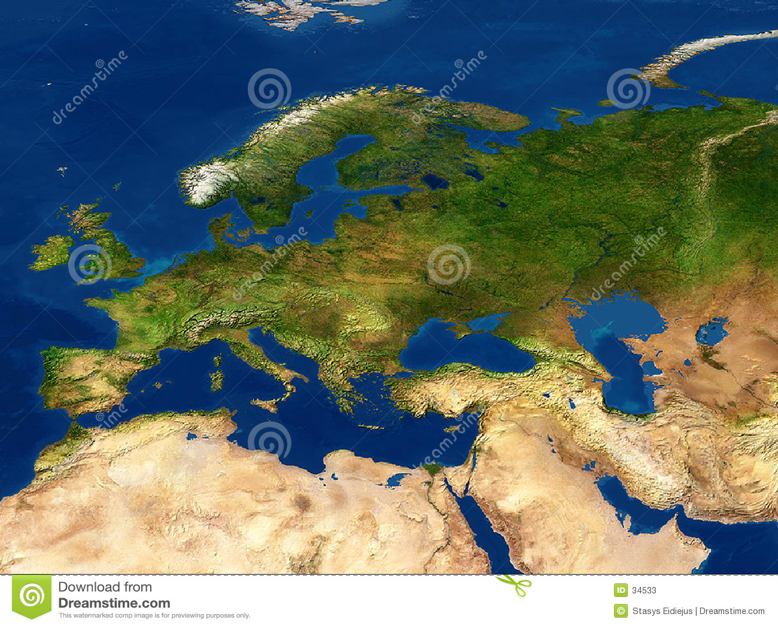 Europę mapy widok ziemi