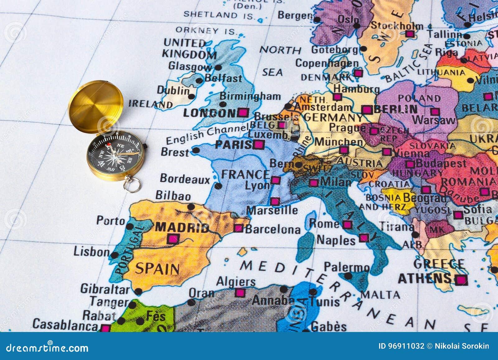 Europa översikt och kompass