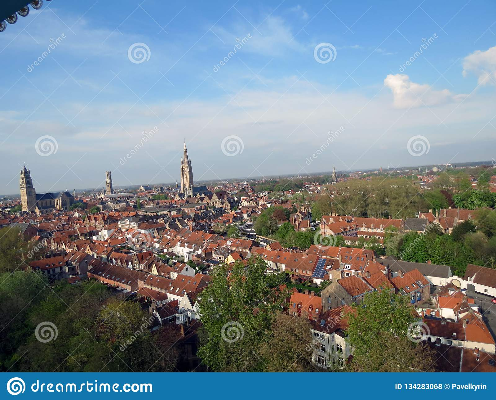 Europa, Belgien, Westflandern, Brügge, zentraler Stadtteil, Vogelschau