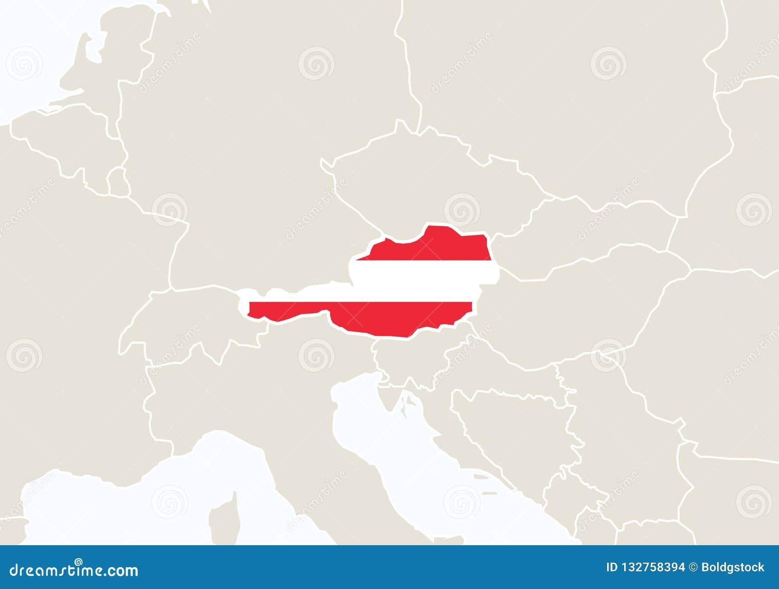 Cartina Del Austria.Europa Con La Mappa Evidenziata Dell Austria Illustrazione Vettoriale Illustrazione Di Posizione Austriaco 132758394