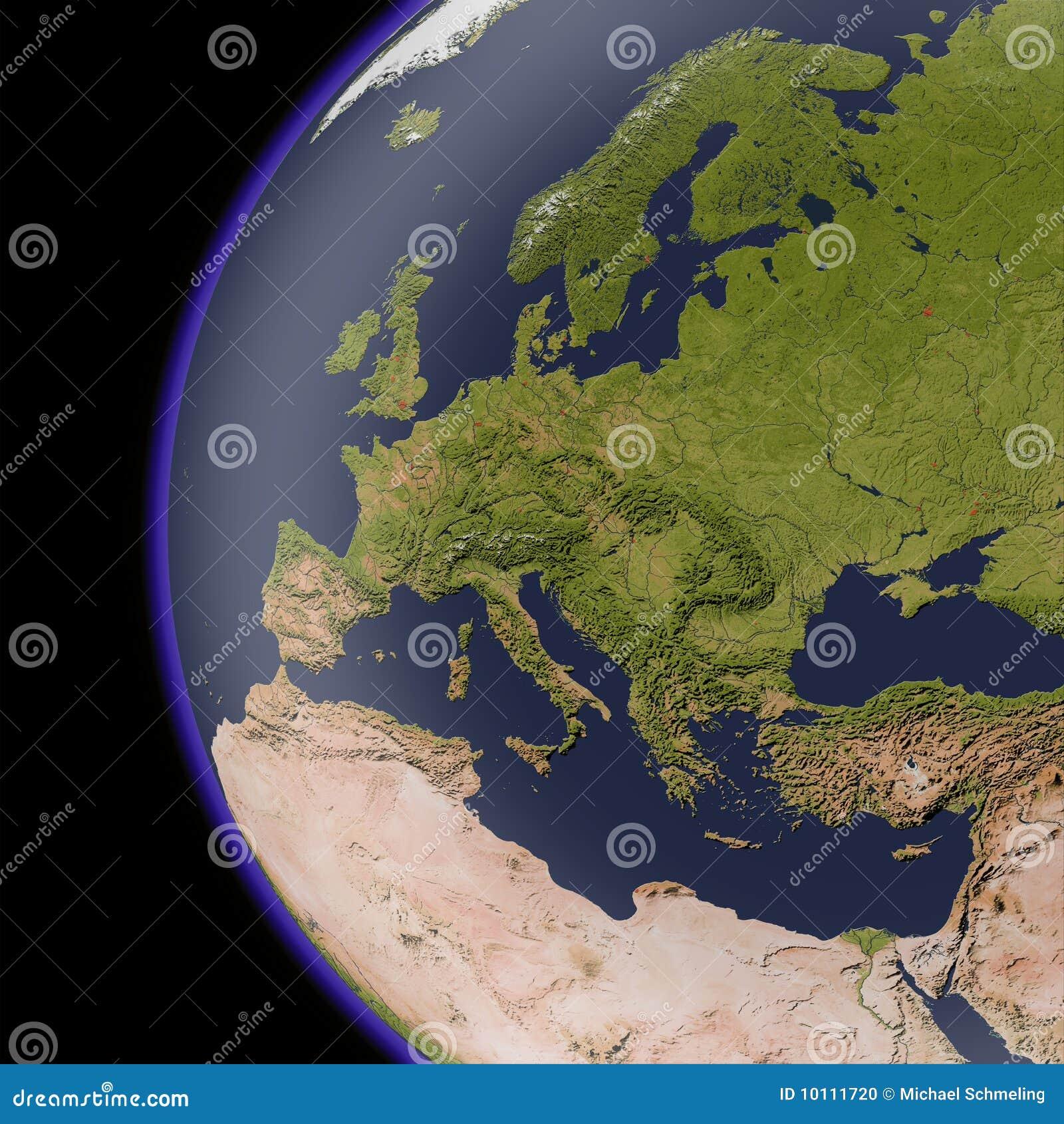 Europa del espacio, correspondencia de relevación sombreada.
