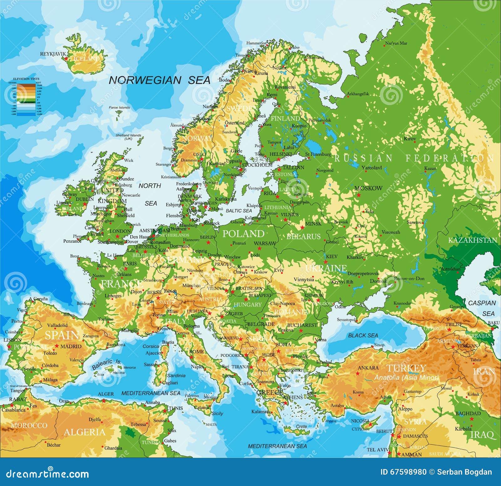Europa Fizyczna Mapa Ilustracja Wektor Ilustracja Złożonej Z
