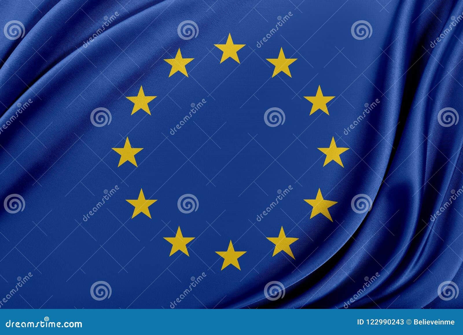 Europa flagga med en glansig siden- textur