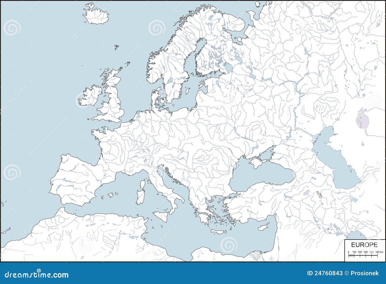 Europa Geef De Contouren Aan Van Kaart Met Rivieren En Meren
