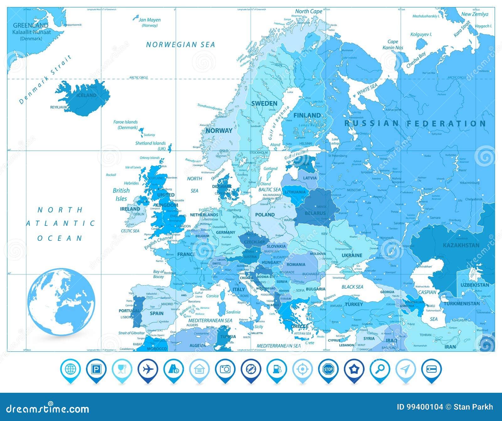Europakarte Nordeuropa Karte.Europa Karte In Den Farben Von Blau Und Karten Markierungen Vektor