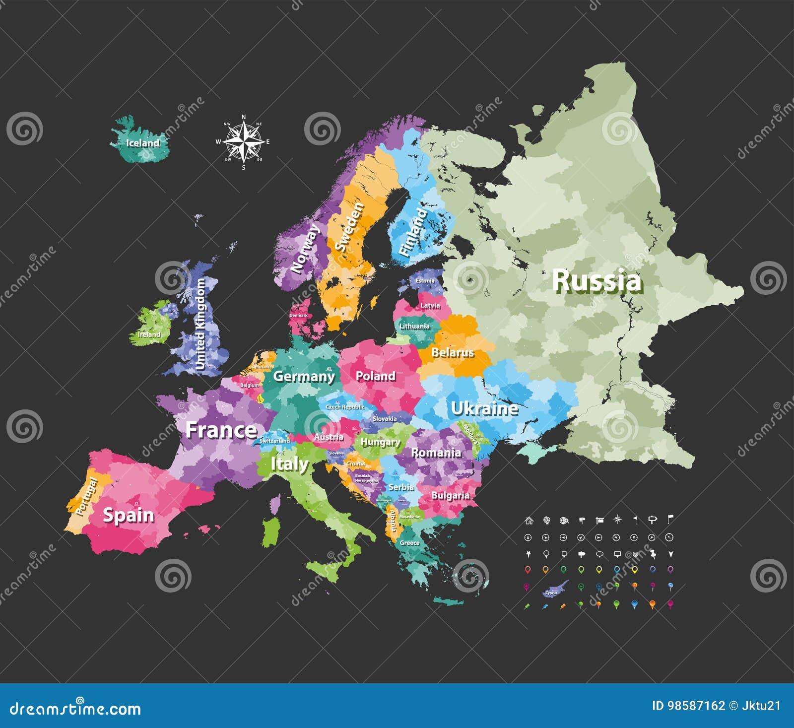Länder Europas Karte.Europa Karte Gefärbt Durch Länder Mit Regionsgrenzen Vektor