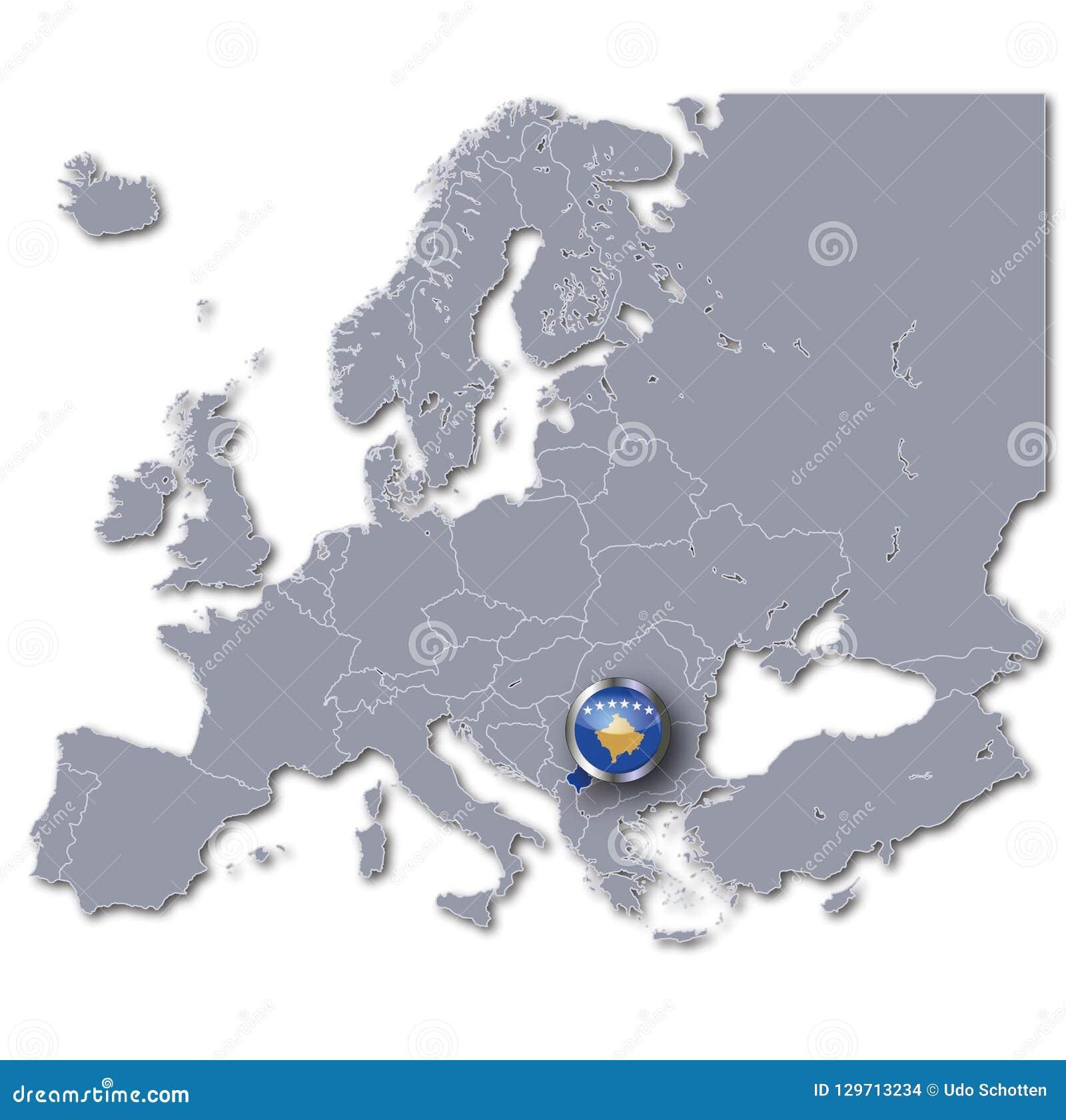 Kosovo Karte Europa.Map Of Europe With Kosovo Stock Illustration Illustration