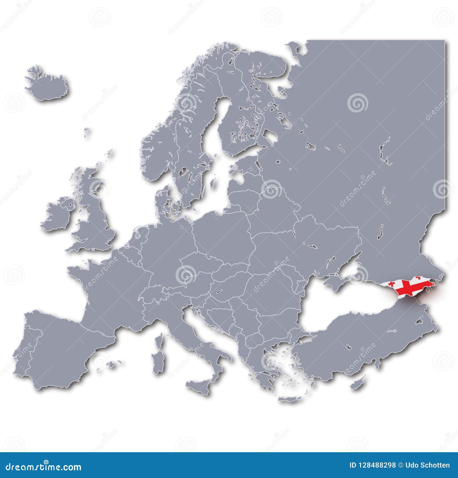 Georgia On Map Of Europe.Map Of Europe With Georgia Stock Illustration Illustration Of