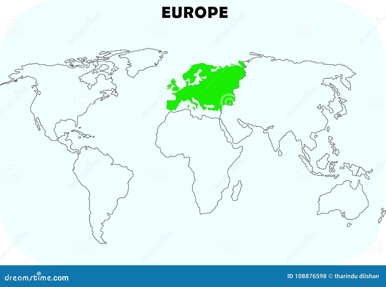 Europa kontinent i världskarta