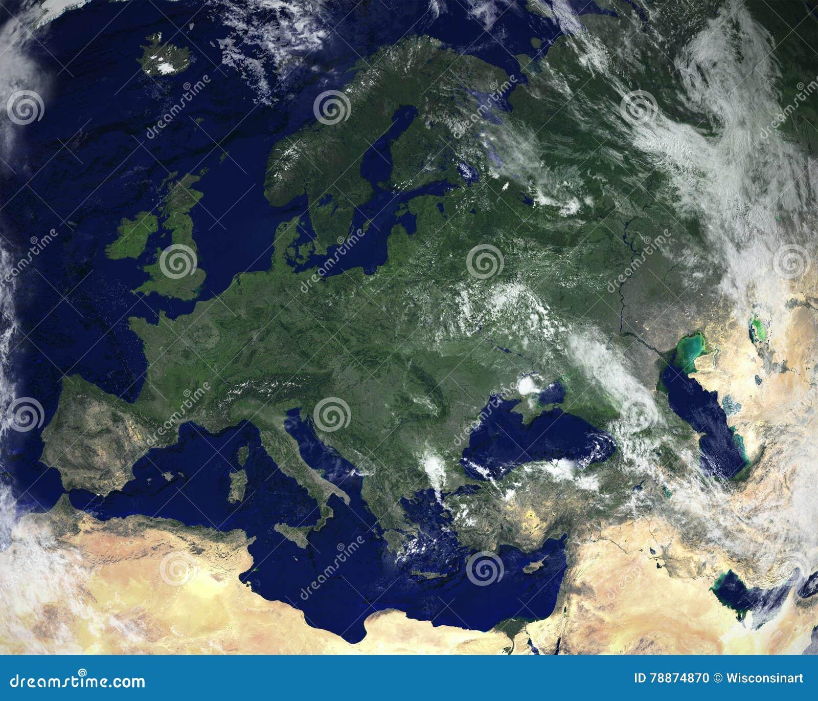 Europa Kontynentu Satelity Przestrzeni Widok Zdjecie Stock Obraz