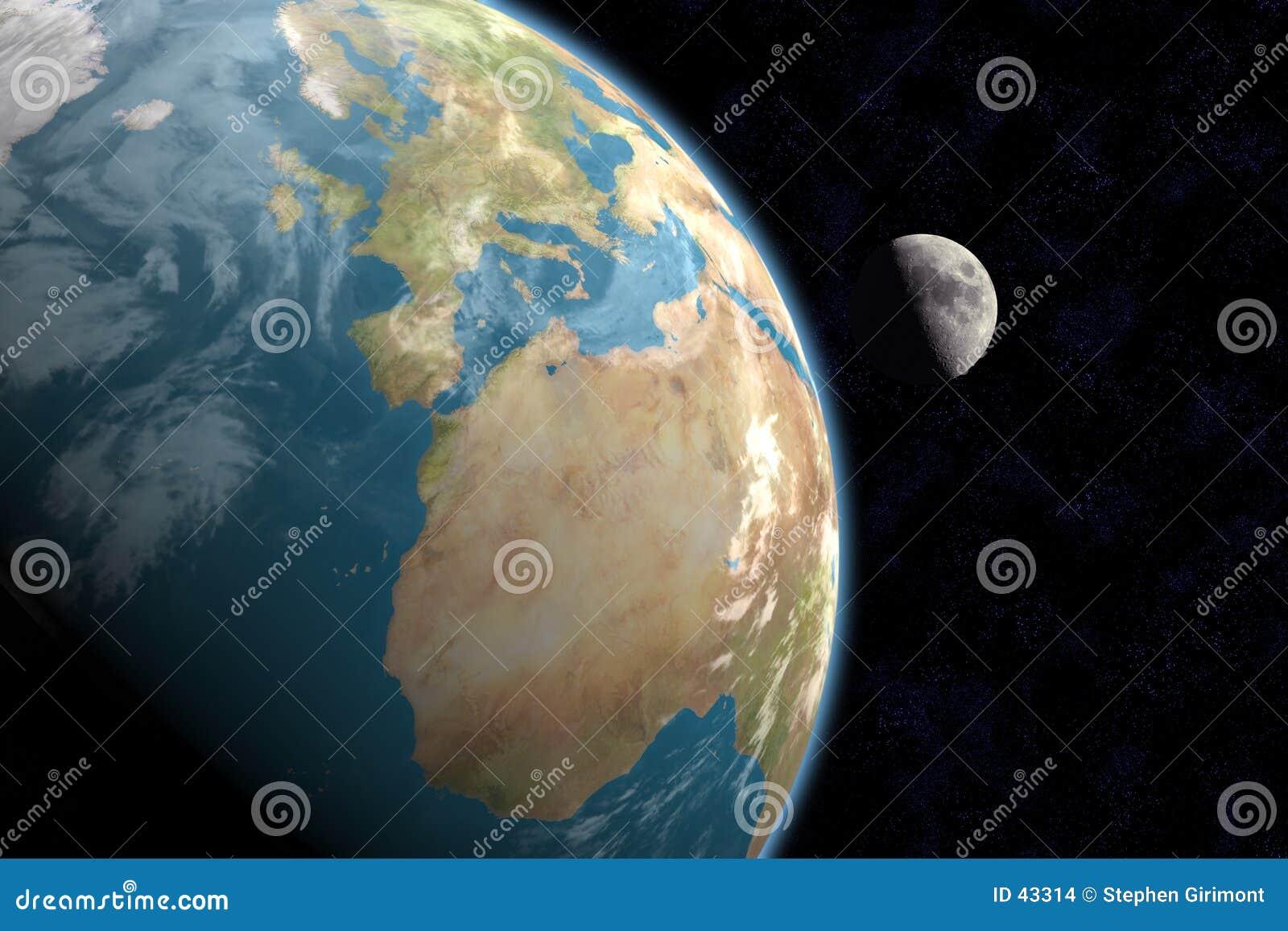 Europa, l Africa e luna con le stelle