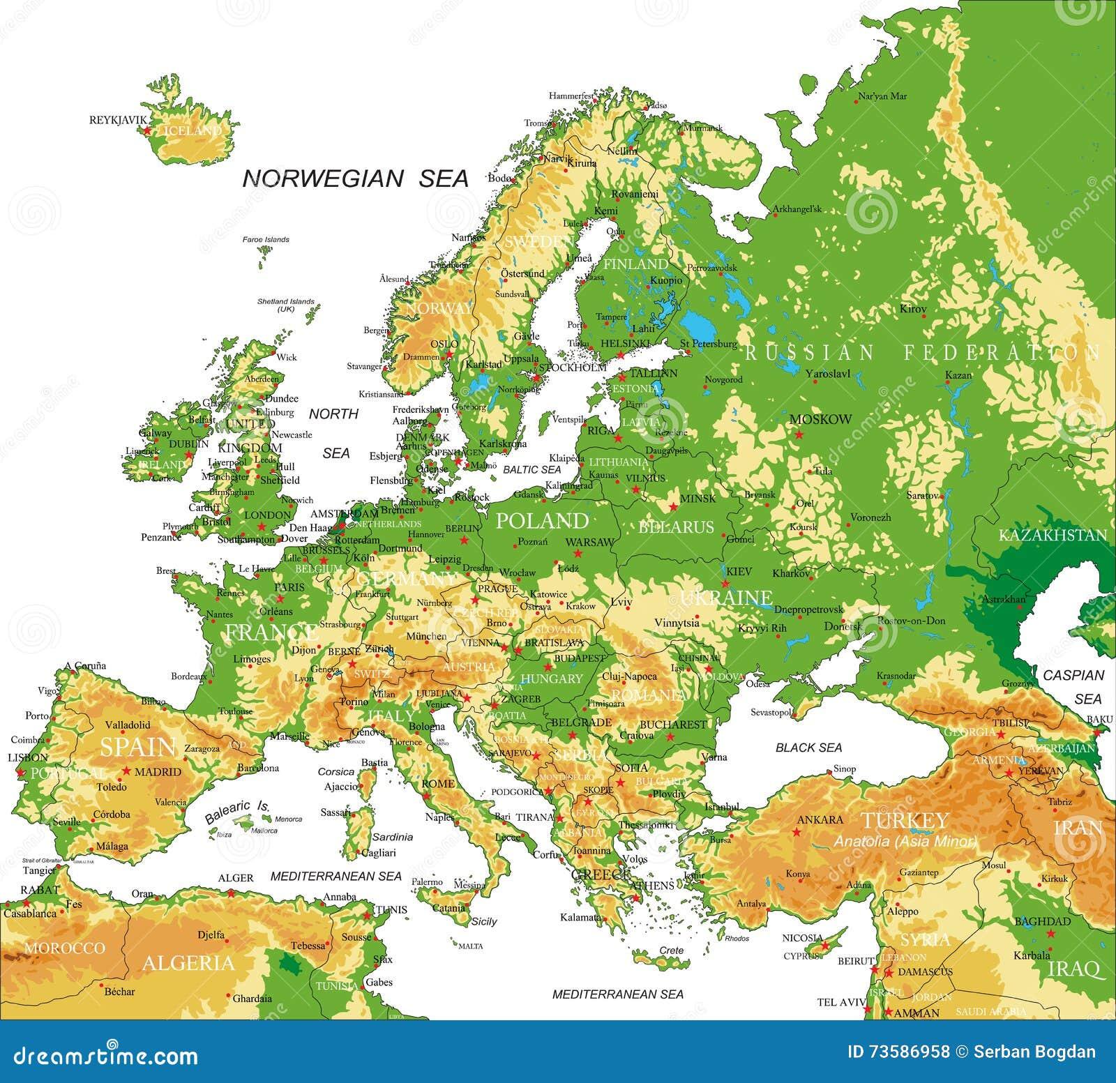 Immagini Cartina Fisica Europa.Europa Mappa Fisica Illustrazione Vettoriale
