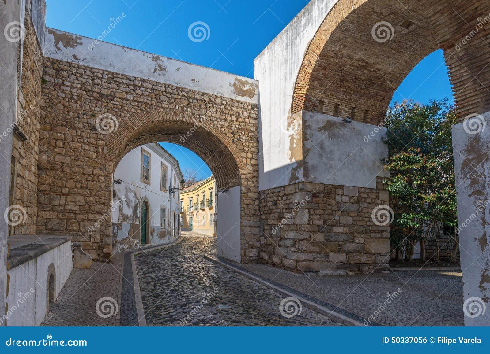 Europa Portugal, Algarve, stad av FARO - traditionell gata