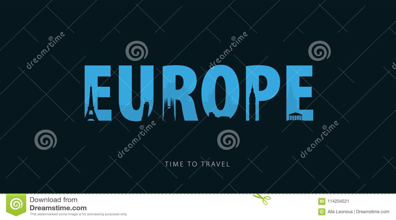 Europa Reis bunner met silhouetten van gezichten Tijd te reizen Vector illustratie