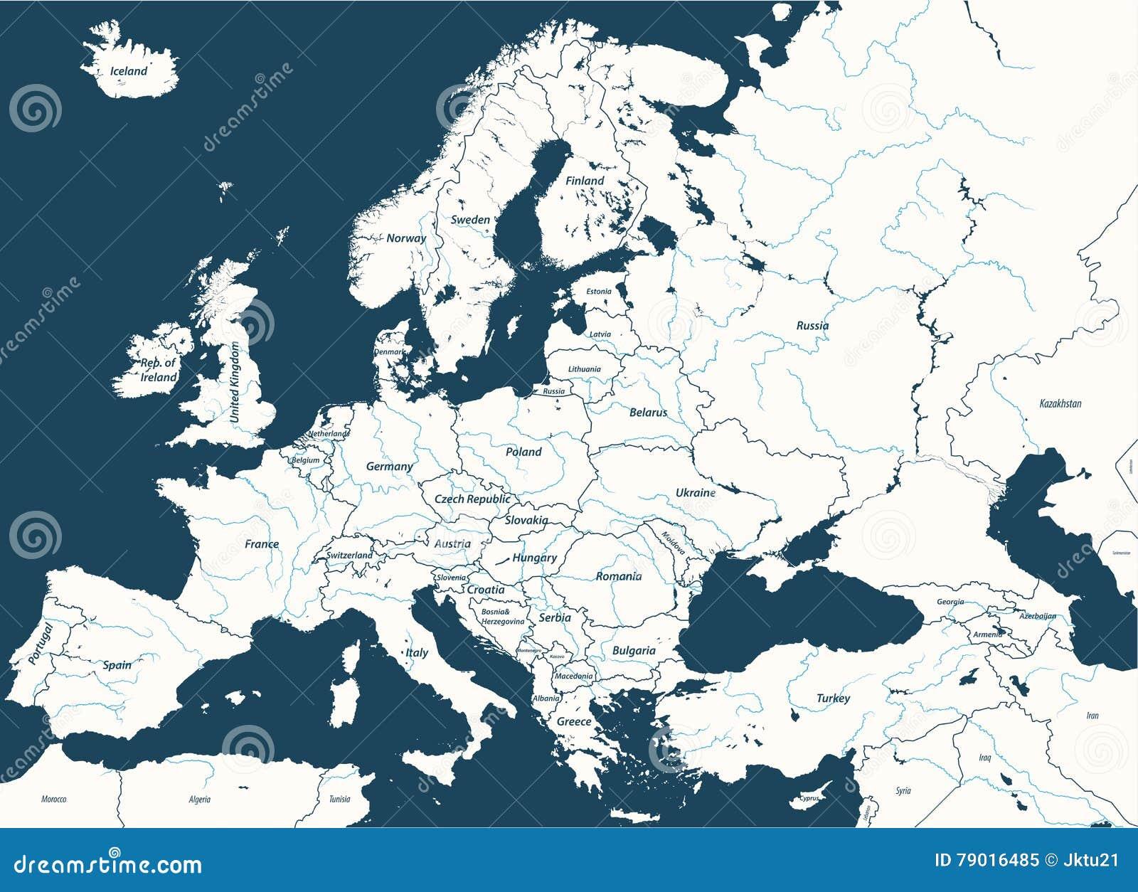 Europa su ha dettagliato la mappa politica con i fiumi principali Tutti gli elementi separati negli strati staccabili