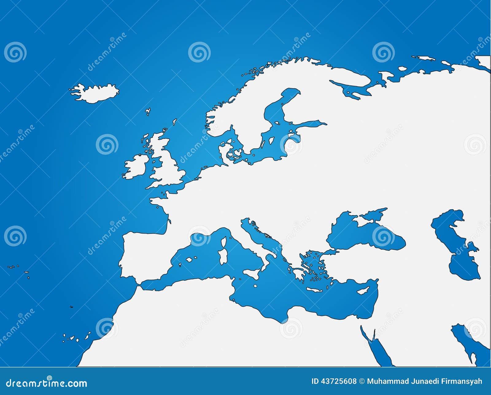 Europa- U. Nord-Afrika-Vorhang-Karte Vektor Abbildung - Bild: 43725608