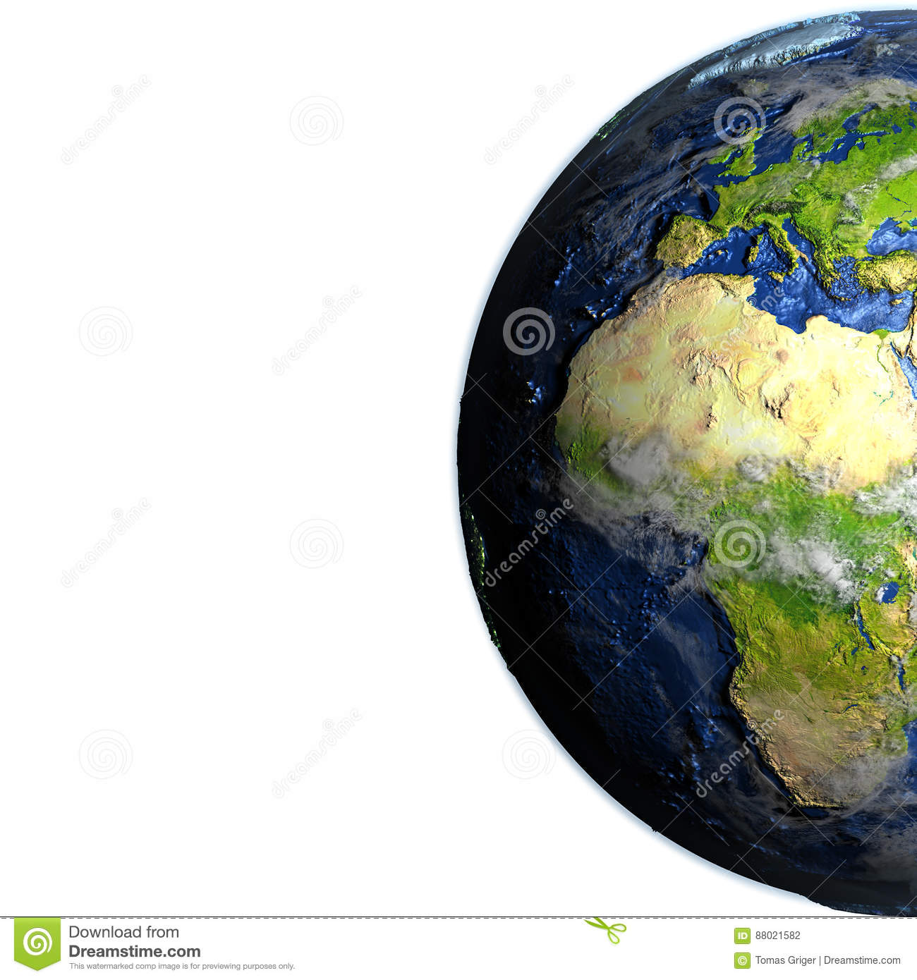Europe And Africa On Earth Visible Ocean Floor Stock Illustration