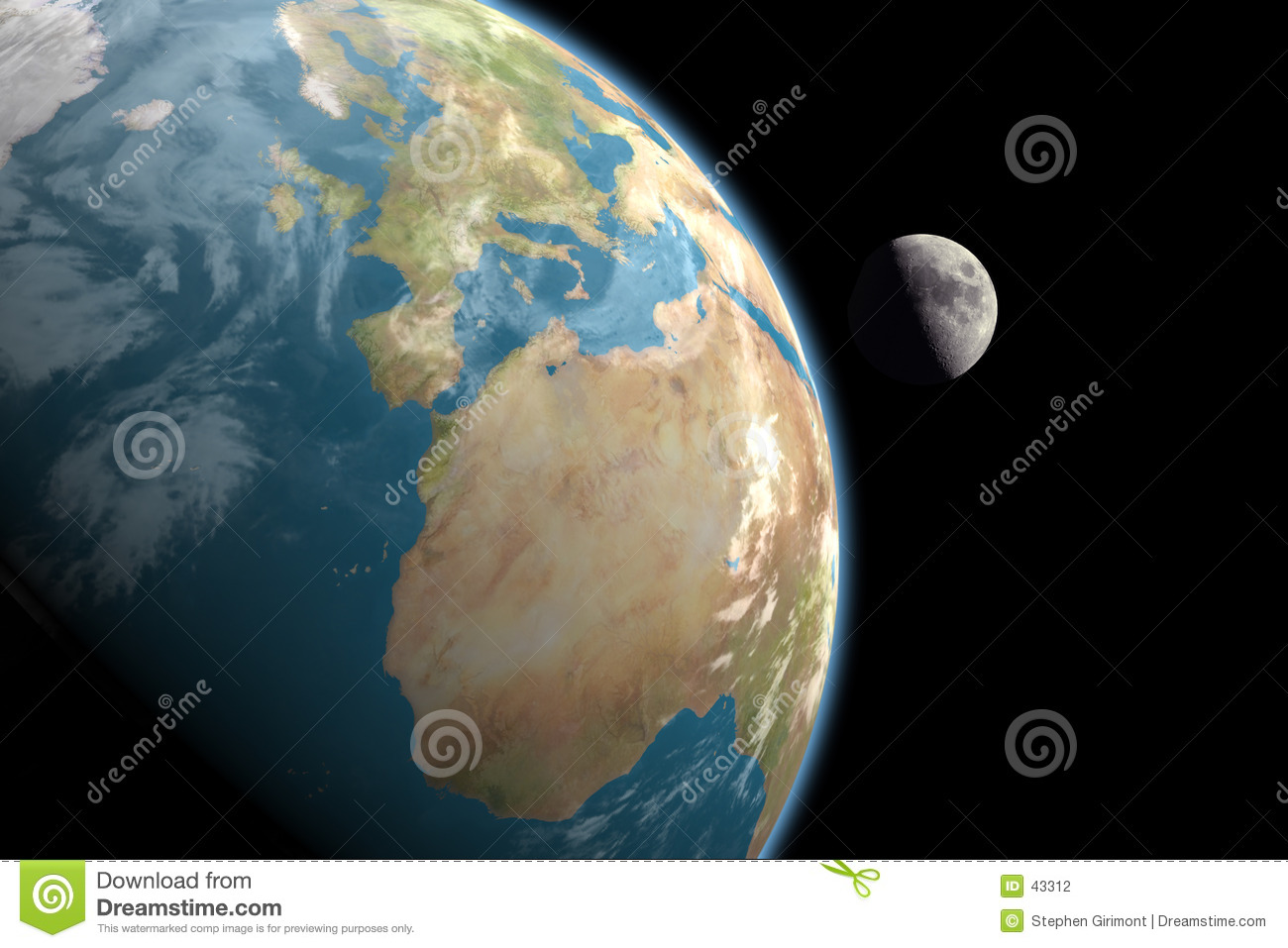 Europe, Africa and Moon, no stars