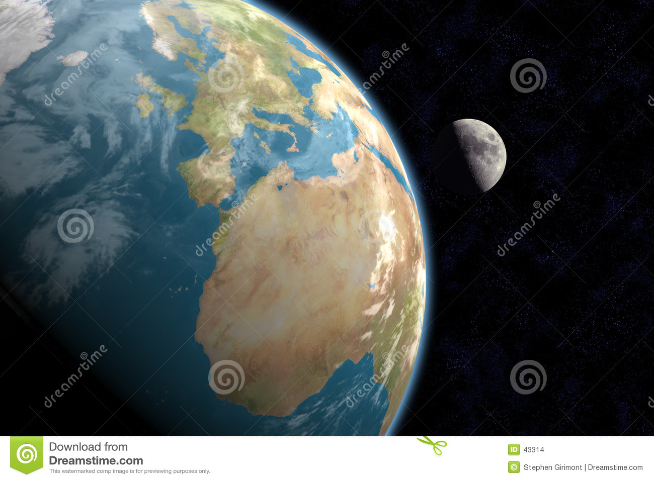 Europe, Africa and Moon with Stars