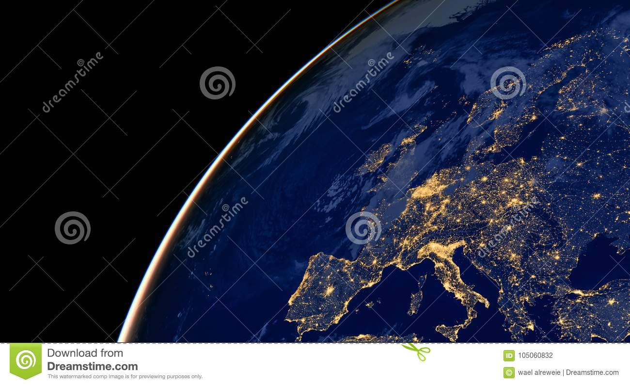 Europe city lights on world map europe elements of this image are download comp gumiabroncs Images