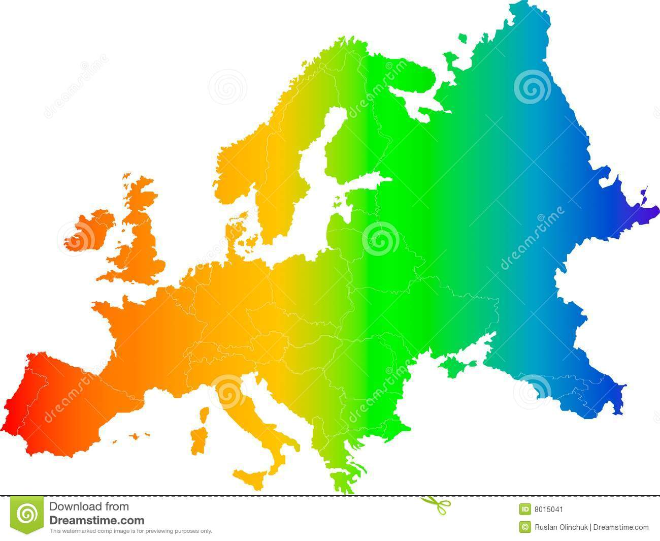 Europe Color Vector Map Stock Image Image 8015041